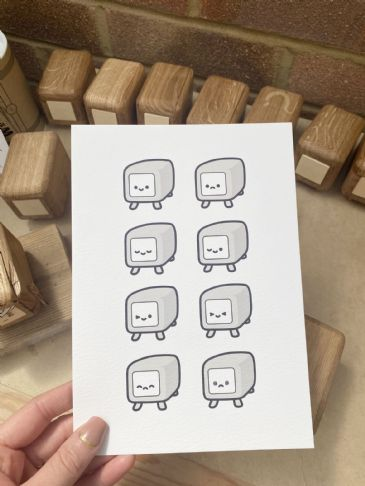 WoodPig Faces (A5)  LIMITED EDITION PRINT (incl. postage)